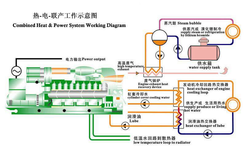 Ettes Power CHP Gas Generator Working Diagram
